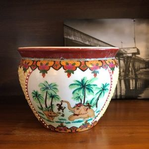 Vintage 80s Elephant Ceramic Boho Printed Planter